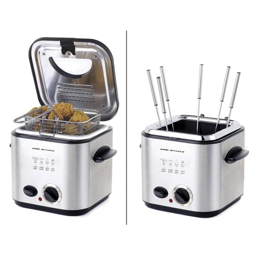 fondue lectrique friteuse 840 watts 10 pi ces cuisina. Black Bedroom Furniture Sets. Home Design Ideas