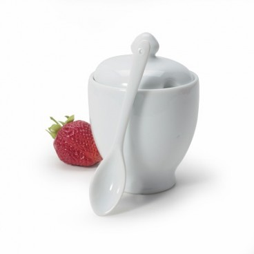 POT DE CONFITURE EN PORCELAINE BLANCHE 175 ML
