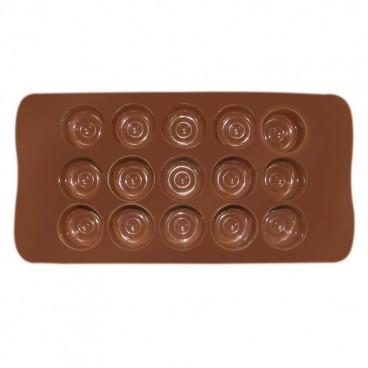 MOULE À CHOCOLAT EN SILICONE EN FORME RONDE CHOCOLAT