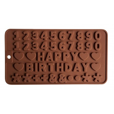 MOULE À CHOCOLAT EN SILICONE FORME HAPPY BIRTHDAY