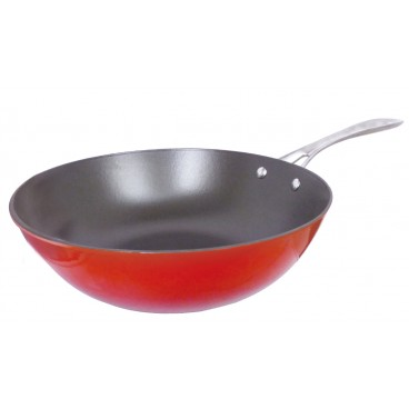 WOK 30CM ROUGE 2 TONS COLLECTION AUJOURD'HUI